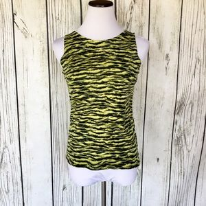 White stag zebra print sleeveless sweater